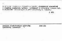 Teória lineárnych operátorov v technicky