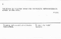 Soustavy obyčejných diferenciálních rovnic