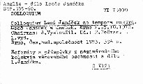 Colloquium Leoš Janáček ac tempora nostra