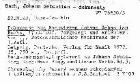 Dokumente zum Nachwirken Johann Sebastian Bachs 1750-1800