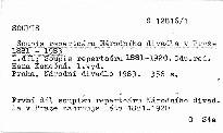 Soupis repertoáru Národního divadla v Praze 1881-1983                         (1. díl)