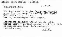 Die Gesangssolisten der Deutschen Staataoper Berlin