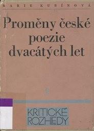 Proměny české poezie dvacatých let