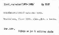 Kulturnopoliticky kalendar 1989.