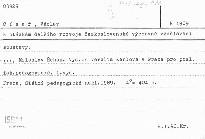 K otázkám dalšího rozvoje československé