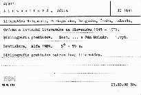 Literatúra Holandska, Portugalska, Belgicka, Írska, Islandu, Grécka a latinská literatúra na Slovensku 1945-1976