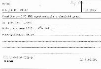 Kvantitativní FT NMR spektroskopie v chemické praxi