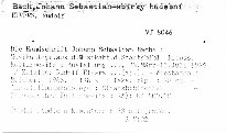 Die Handschrift Johann Sebastian Bachs