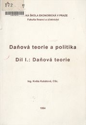 Daňová teorie a politika                         (Díl 1)