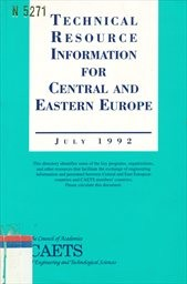 Technical Resource Information for Central and Eastern Europe