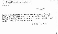 Grove's Dictionary of Music and Musicians                         (Vol. 7, R-SO)