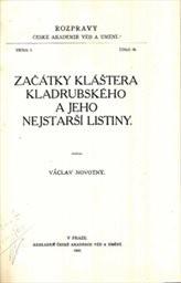 Začátky kláštera Kladrubského a jeho nejstarší listiny