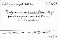 Briefe von und an August Wilhelm Schlegel