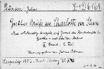 Briefe an Charlotte von Stein