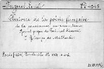 Histoire de la Poésie Francaise
