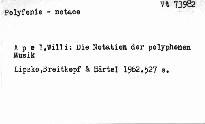 Die Notation der Polyphonen Musik 900-1600