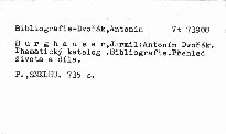 Antonín Dvořák. Thematický katalog