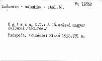 A XVI. század magyar dallamai