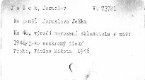 Na paměť Jaroslava Ježka