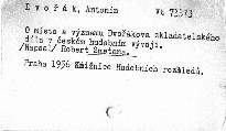 O místo a význam Dvořákova skladatelského díla v českém hudebním vývoji