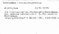 Die Instrumentation. Teil 13: Violoncello - Kontrabass