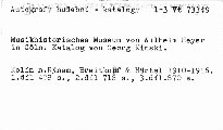 Katalog des Musikhistrorischen Museums von Wi