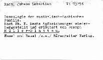 Genealogie der musikalisch-Bachischen Familie