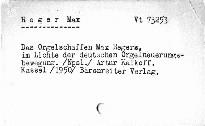 Das Orgelschaffen Max Regers