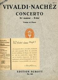 Concerto (Sib majeur - B dur) pour violon, orchestre a cordes et orgue d'apres la basse chiffrée