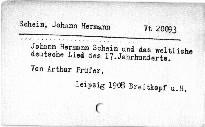 Johann Hermann Schein und das weltliche deutsche