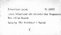 Anton Schweizer als dramatischer Komponist