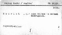 John Vilbye in seinen Madrigalen