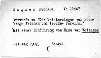 """Entwürfe zu """"Die Meistersinger von Nürnberg"""", """"Tristan"""""""