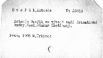 Antonín Dvořák ve vývoji naší dramatické hudby