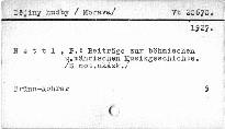 Beiträge zur böhmischen und mährischen Musikgeschichte