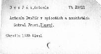 Antonín Dvořák v episodách a anekdotách