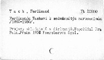 Ferdinandu Vachovi k sedmdesatým narozeninám