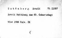 Arnold Schönberg zum 60. Geburtstag