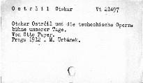 Otakar Ostrčil und die tschech. Opernbühne