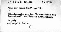 Dvořák, Antonín: Aus der Neuen Welt op. 95