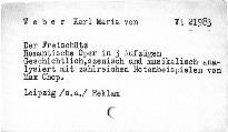 C.M. von Weber: Der Freischütz