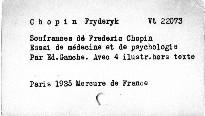Souffrances de Frédéric Chopin