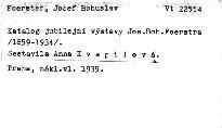Katalog jubilejní výstava J. B. Foerstra