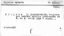 Program I. Mezinárodního kongresu pro hudební výchovu pořádaného od 4. do 9. dubna 1936 v Praze