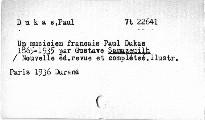 Un musicien franc. Paul Dukas