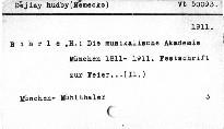 Die musikalische Akademie München 1811-1911