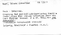Bach Urkunden