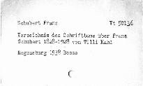 Verzeichnis des Schrifttums über Franz Schubert