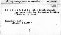 Bibliographie zur Geschichte des deutschen Kirchenlieds im XVI. Jahrhundert