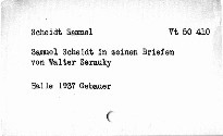 Samuel Scheidt in seinen Briefen
